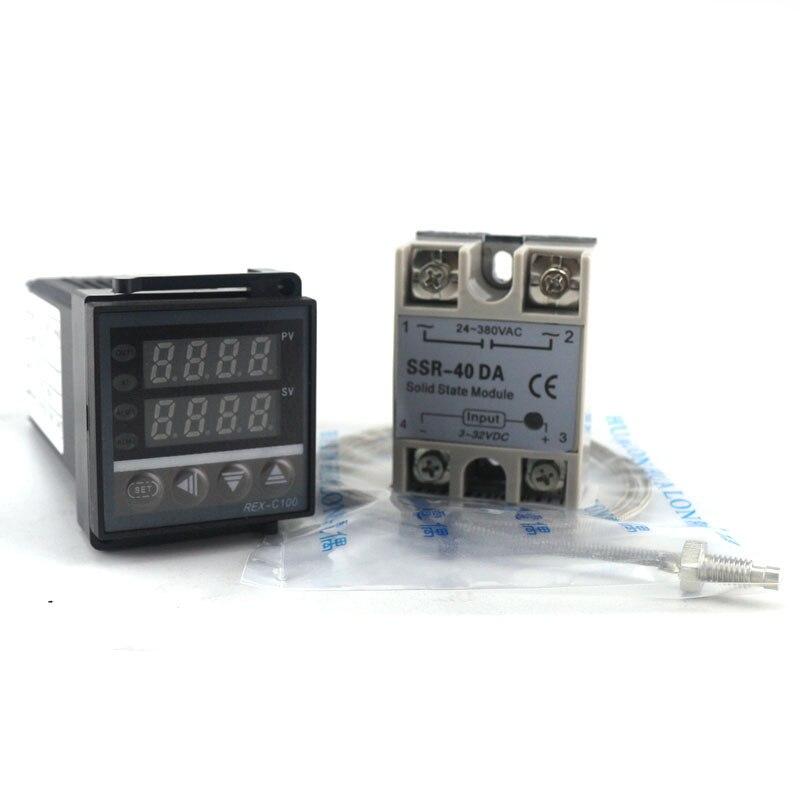 Double régulateur de Thermostat PID sortie SSR régulateur de température PID numérique REX-C100 0-400C Thermocouple K SSR 40A SSR-40A