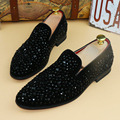 Only true love New Fashion Men Rhinestone Flats Suede Leather Casual Rounded Toe Moccasins Dress Business Shoes Male Size:38-43
