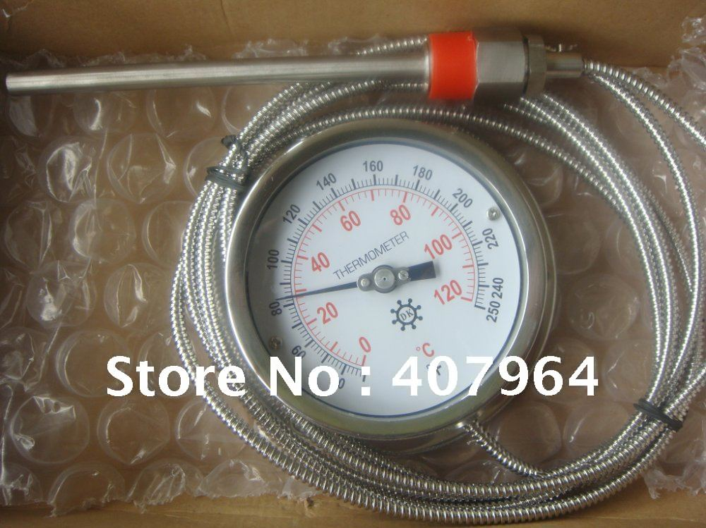 Remote  bimetal thermometer with Capillary dial 3""