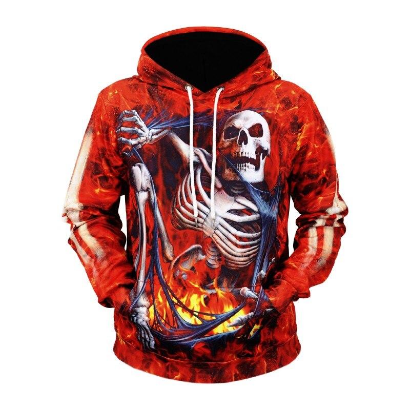 Men's Clothing Hot Sale 3d Halloween Series Red Skull/skeleton Printed Hoodies Sweatshirts Full Sleeve Tracksuits Casual Women/men Pullovers
