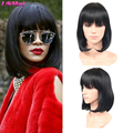 african american bob wigs medium black straight synthetic hair wigs with bangs fashion cool Rihanna's Hairstyle peruca sintetica