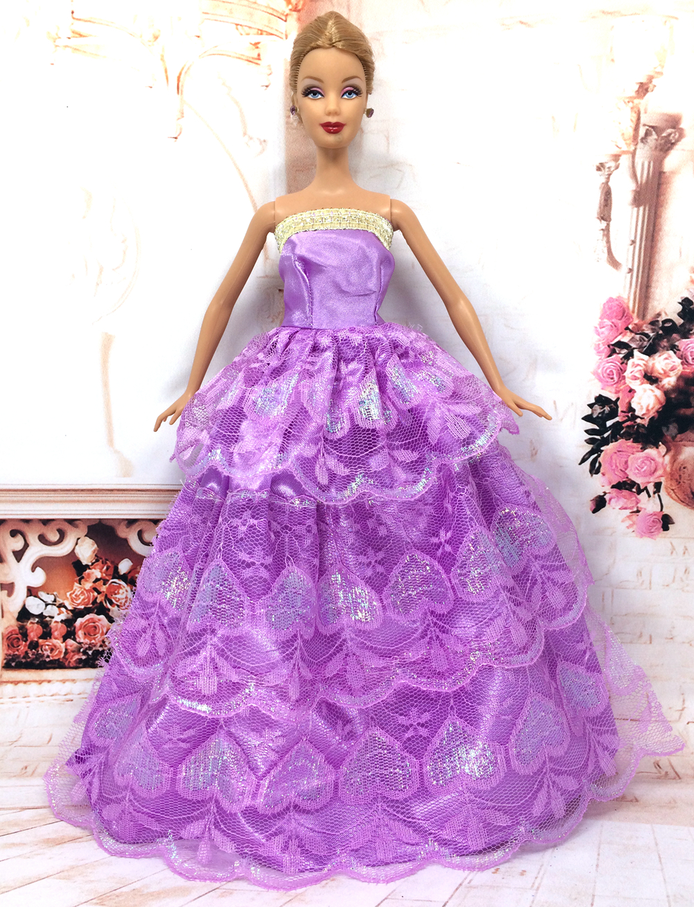 NK One Pcs Princess Purple Wedding Dress Noble Party Gown For Barbie Doll Fashion Design Outfit Best Gift For Girl' Doll 030A