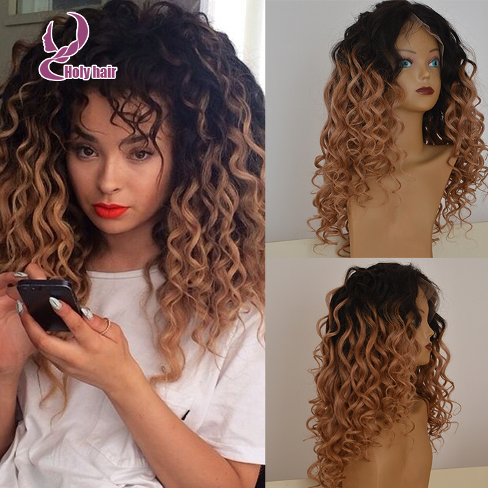 180 Density Ombre Blonde Natural Wigs Curly Lace Front Glueless Human Hair White Women 8a Unprocessed Two Tone Wig In From