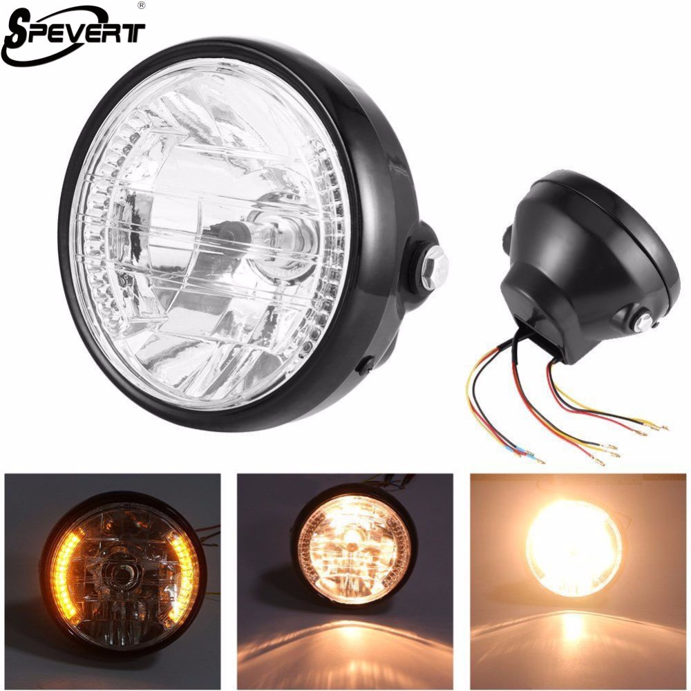 Phare de moto SPEVERT 35 W 7 inch H4 9003 Led pour Harley avec Halo Angel Eye DRL lumières pour Harely Softail Dyna Sportster