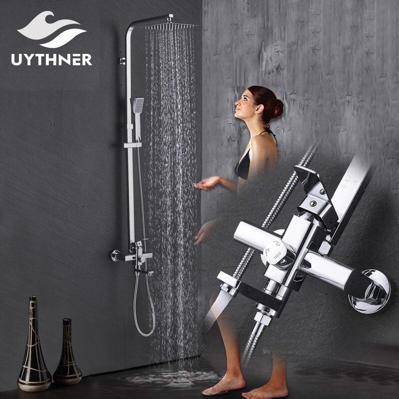 Newly Chrome Polished 8 inch Rain Showerhead+Rotation Tub Spout+Handshower Shower Faucet Bathroom Bath and Shower Mixer Taps