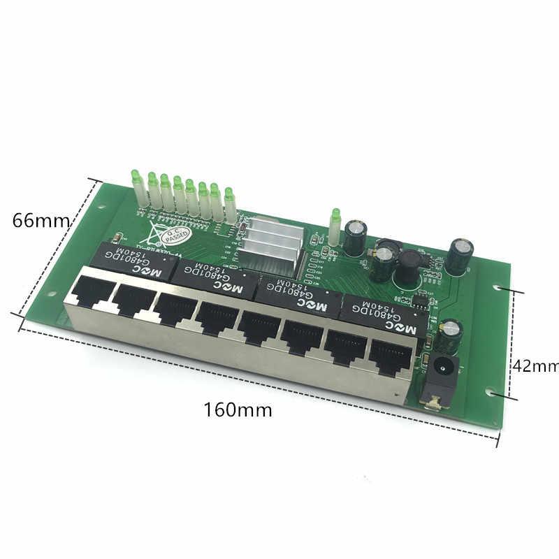 8 ポートギガビットスイッチモジュールは広く led ライン 8 ポート 10/100/1000 メートル連絡ポートミニスイッチモジュール PCBA マザーボード