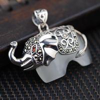 Silver Deer King Opal Pendant S925 Sterling Silver Antique Silver Wholesale Kyrgyzstan Xiangfu Female Elephant