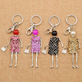 Fashion Rhinestone Girls Skirt Doll Pendant Keychain Key Ring Bag Charm Hanging Gift