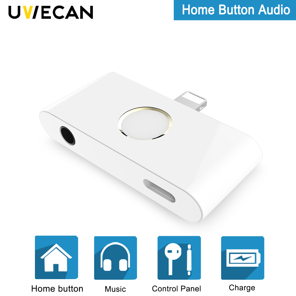 Portable Adapter For iPhone X Home Button Audio With 3.5mm Earphone Jack Support Listen To Music And Charging At The Same Time цена