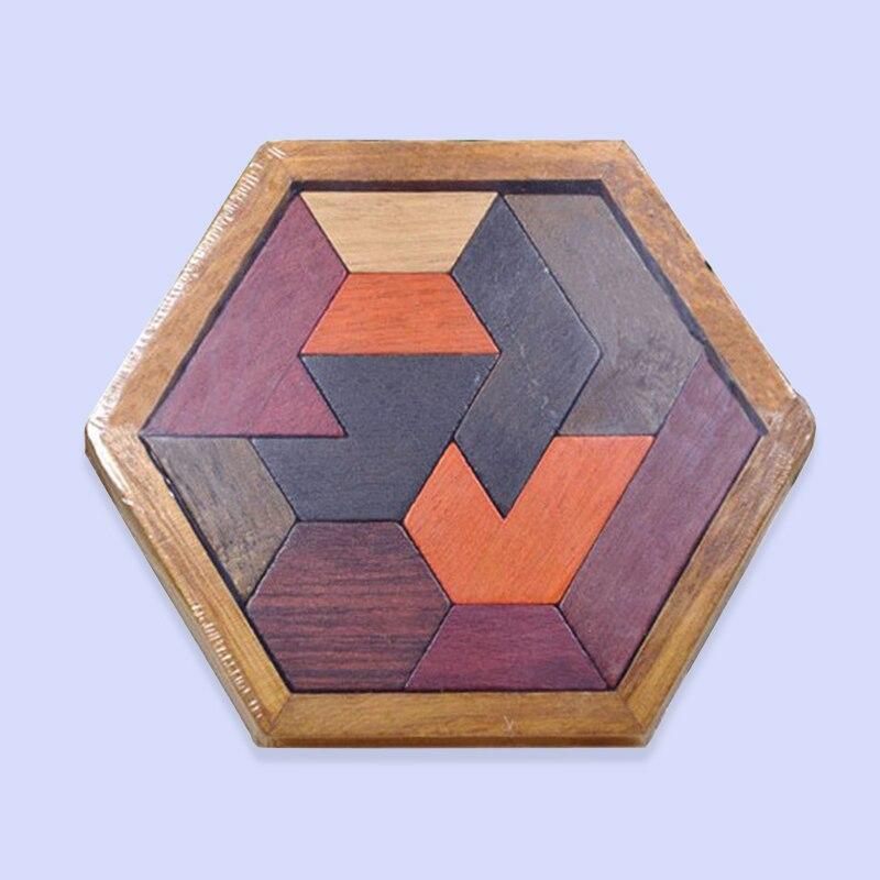 Головоломки деревянные гексагональной Tangram развивающие удивительные Кубы головоломки