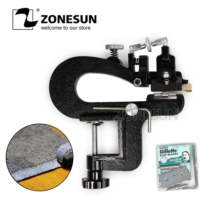 ZONESUN Leather Paring Device Kid Manual Leather Skiver Hand Skiving Machine Leather Splitter Vegetable Tanned Peeler Peel Tools