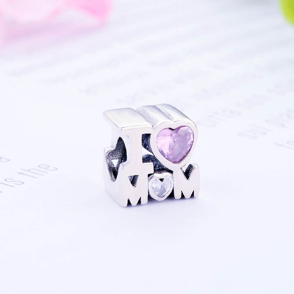a8a30bb15 2019 Sterling Silver Pink Mom Love Heart Charm - Sterling Silver Charms
