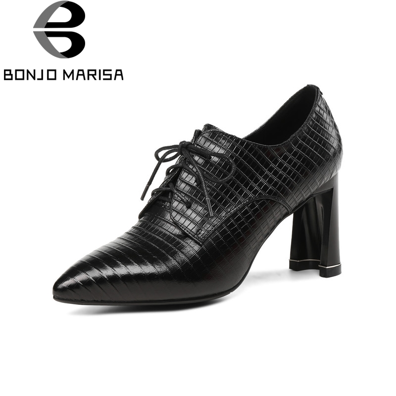 BONJOMARISA Hot Sale Sheepskin Genuine Soft Leather lace-up Big Size 33-43 Woman Shoes Pointed Toe Fashion High Heels Pumps big size 40 41 42 women pumps 11 cm thin heels fashion beautiful pointy toe spell color sexy shoes discount sale free shipping