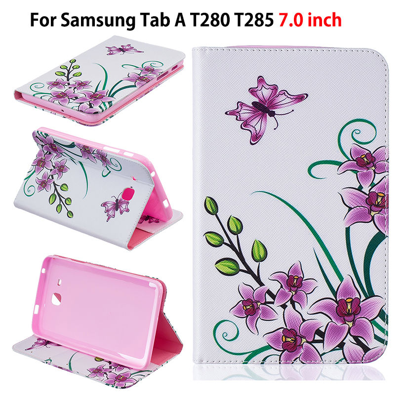 Fashion Childrens Cartoon Cover For Samsung Galaxy Tab A a6 7.0 T280 T285 SM-T280 Case Funda Tablet Flip Stand PU Leather Shell
