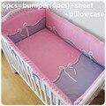 2016 6 PCS conjuntos de cama berço do bebê menina para berço cama berço cama folha ( pára choques + folha + travesseiro )
