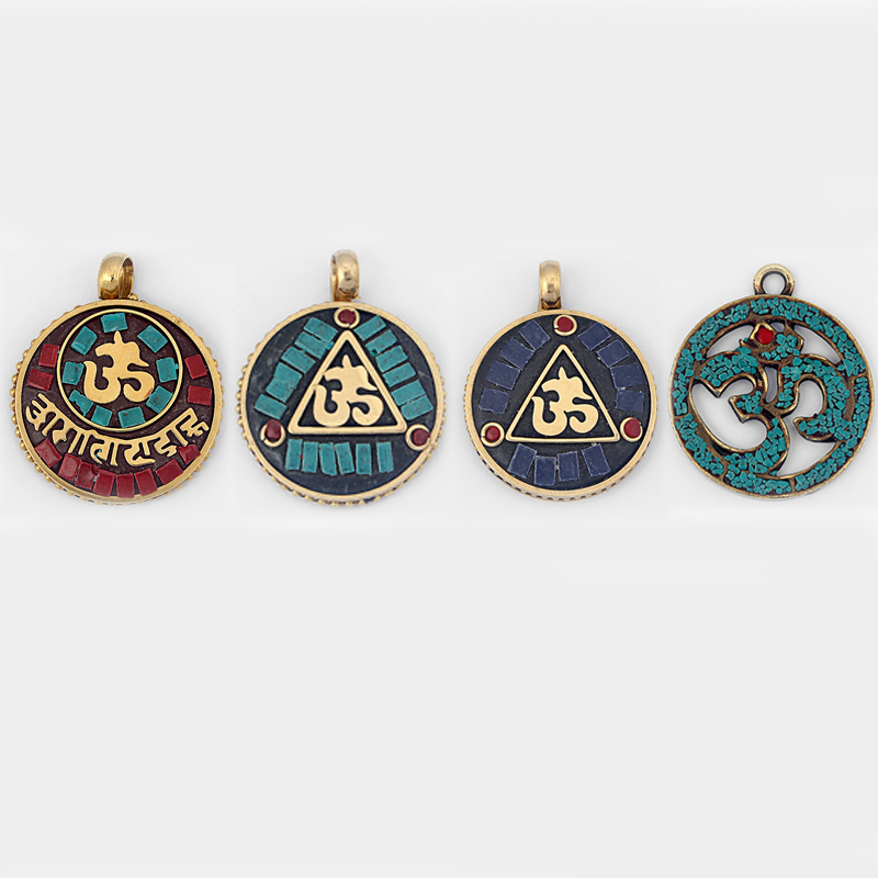 2pcs Fashion Charms Pendant Cooper with Clay Carved OM OHM YOGA Symbol Pendant for DIY Necklace Jewelry Findings Accessories