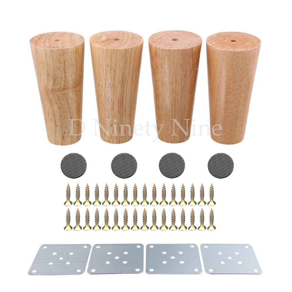 Natural Wood Reliable 120x58x38mm Wood Furniture Leg Cone Shaped Wooden Feets For Cabinets Soft Table Set Of 4