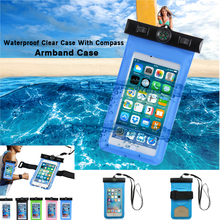 Universal Cover Waterproof Phone Case For iPhone X 8 Coque Pouch Bag Samsung Galaxy S9 S8 Note8 Compass