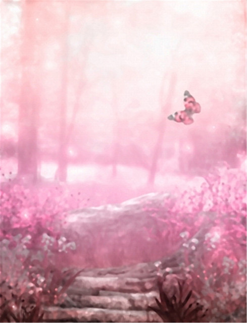 light pink background pink flowers with butterfly vinyl backdrops