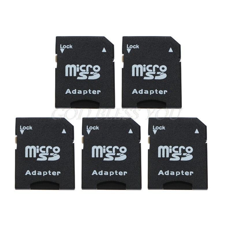 5Pcs Micro SD TransFlash TF To SD SDHC Memory Card Adapter Converter Black