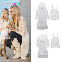 2PCS/2-6Years/Spring Summer Mother And Daughter Matching Outfits Baby Girl Clothing Hooded Coat+Tshirt Family Clothes Set BC1040