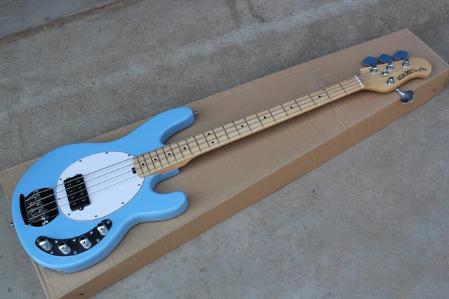 top quality light blue music man stingray 4 string electric bass guitar with 9v battery. Black Bedroom Furniture Sets. Home Design Ideas