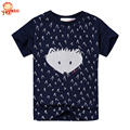 Yayabb 2-7 años Azul Marino de Manga Corta Tops T Shirt Camiseta ropa Nueva Muchachos Casual de Las Camisetas 100% Algodón de Los Cabritos Ropa de Verano
