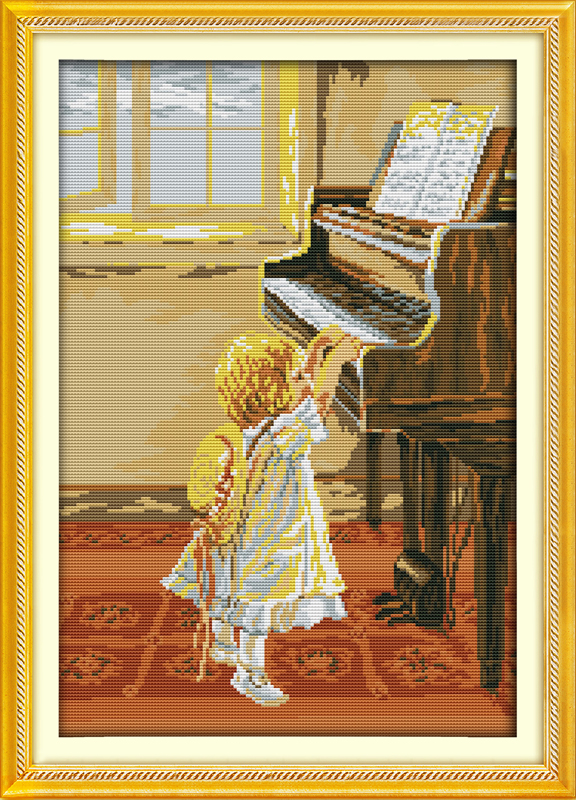 Practical The Little Girl And The Piano Home Decor Canvas Cross Stitch Kits 14ct White 11ct Print Embroidery Diy Handmade Needlework Wall Electronic Components & Supplies