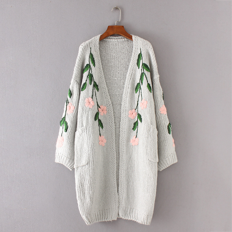 Autumn Fashion Knitwear Women Long Sweater Cardigan Double Pockets Pink Flowers Green Leaves Embroidery Jumper Knitted Tops