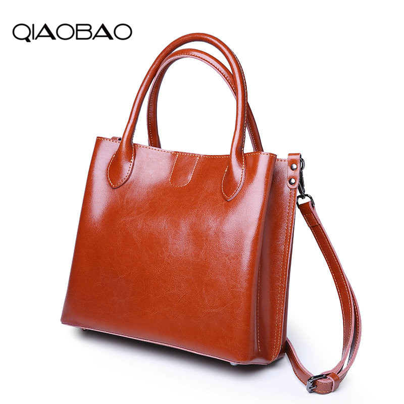 QIAOBAO 100% Genuine Leather Women's Tote Cowhide Shoulder Luxury Handbags Women Bags Designer Messenger Black Brown qiaobao 100