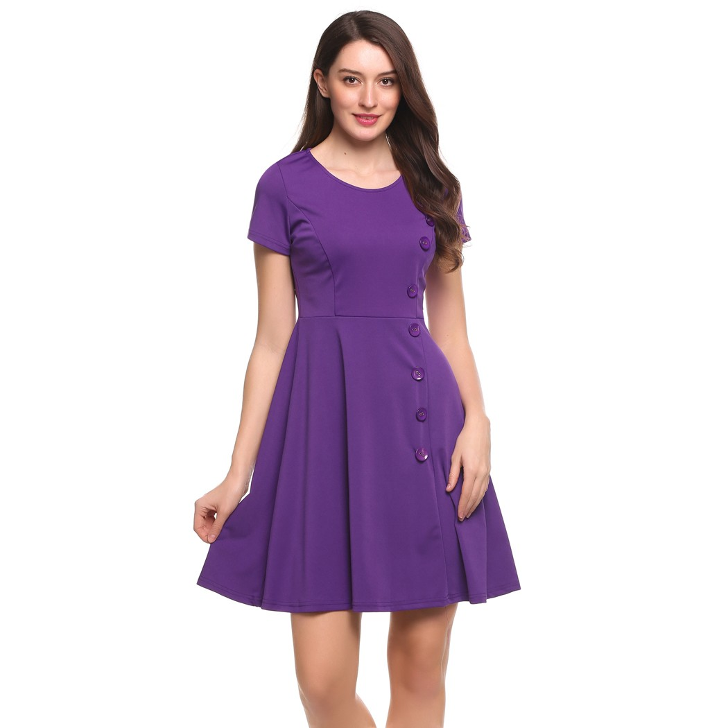 ACEVOG Women Swing Dress Short Sleeve Side Button Solid Cocktail Party Knee  Length Skater Dress 5 Sizes-in Dresses from Women s Clothing on  Aliexpress.com ... 5a0892c45
