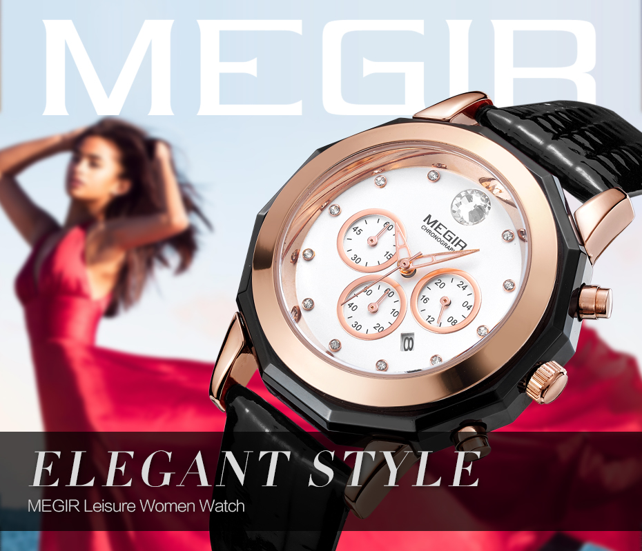 MEGIR Luxury Brand Ladies Watch Chronograph Fashion Leather Wrist Quartz Girl Watch for Women Lovers Dress Watches Clock Women