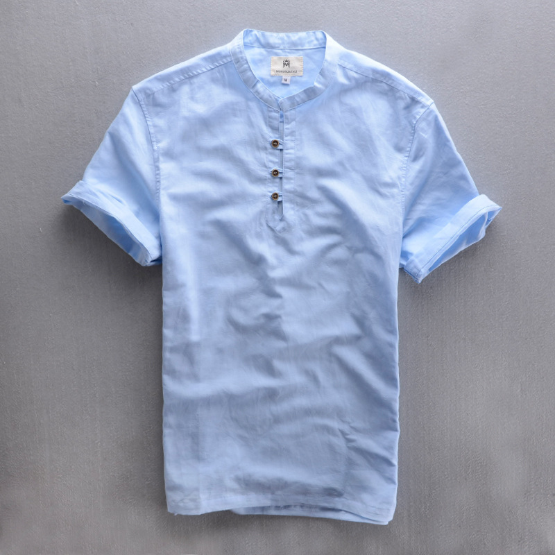 4dac8ff81e 2015 3XL New Arrive Handsome Men s Summer Linen Shirt Solid Slim Fit Casual  Short Shirt Mandarin Collar Thin ShIrt For Male-in Casual Shirts from Men s  ...