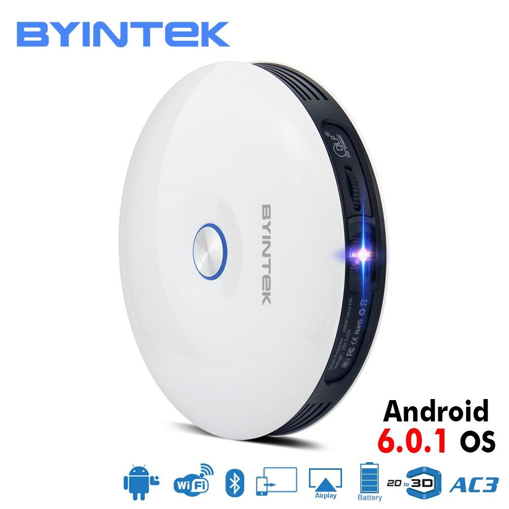 BYINTEK marca UFO R11 inteligente 3D 200 pulgadas Android Wifi DLP vídeo Portable Mini proyector LED Full HD 1080 P 2 K 4 K