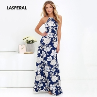 LASPERAL Womens Summer Maxi Dresses New Arrival Ladies Boho Dress Sleeveless Blue Halter Neck Floral Print