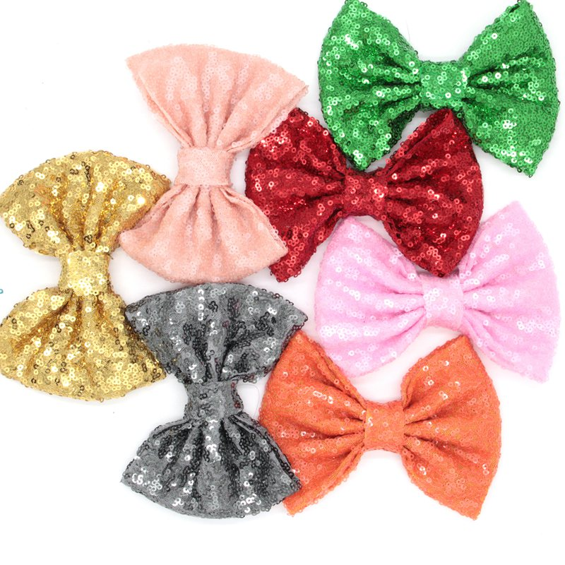 """60pcs/lot 32 colors Free Epacket/CPAP 5"""" Big Sequin Messy Bow without clips, For you DIY Children Jersey Headband, Hair Flower-in Hair Accessories from Mother & Kids    1"""