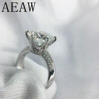 AEAW 3 Carat ct 9 мм Обручение HI Цвет Свадебные Круглый Муассанит кольцо искусственный бриллиант кольцо в 925 пробы серебро для Для женщин