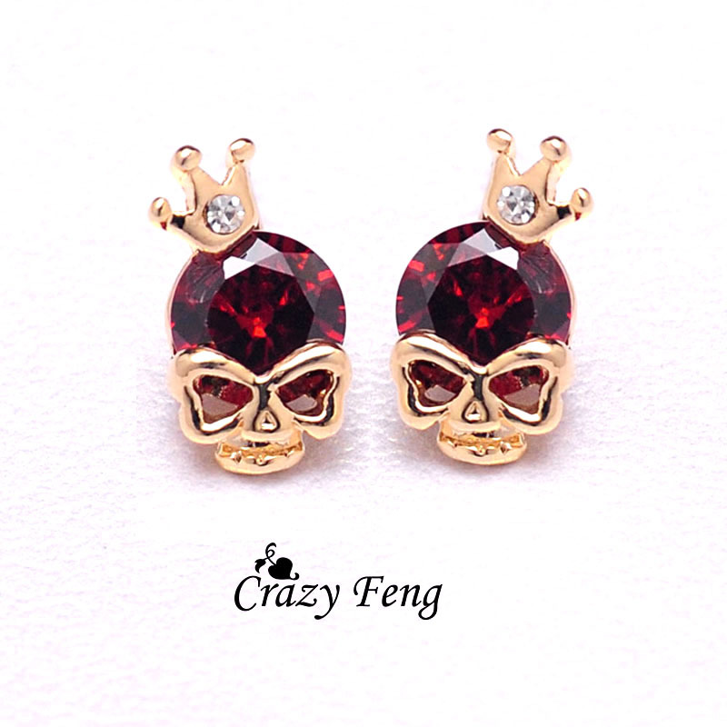 Online Steampunk Gold Color Skull Earrings Fashion Cz Crystal Stud For Women Small Jewelry Brincos Valentines Day Gift Aliexpress