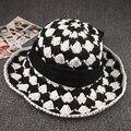 Необычные летние стили черный белый проверено леди вязаные шапки женщины hand made крючком пляж шляпа солнца