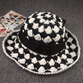 Fancy summer styles black white checked lady crochet hats women hand made crochet  beach sun hat