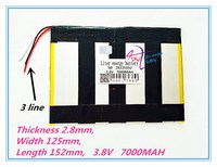 Linha 3 baterias recarregáveis de Polímero de 28125152 3.8 MAH 7000 V Tablet PC bateria geral  X98 qualidade Perfeita de lar Bateria e energia extra p/ tablet     -