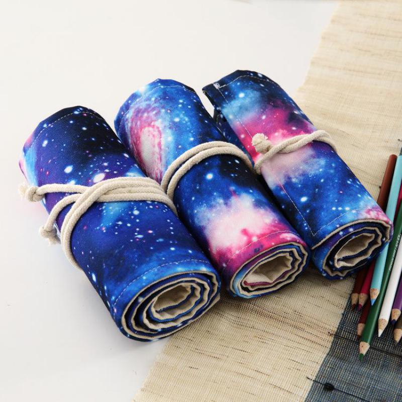 36/48/72holes Galaxy Environmental Canvas Pen Bag Curtain Student Stationery Roll Pencil Bag Pencil Pouch School Supplies