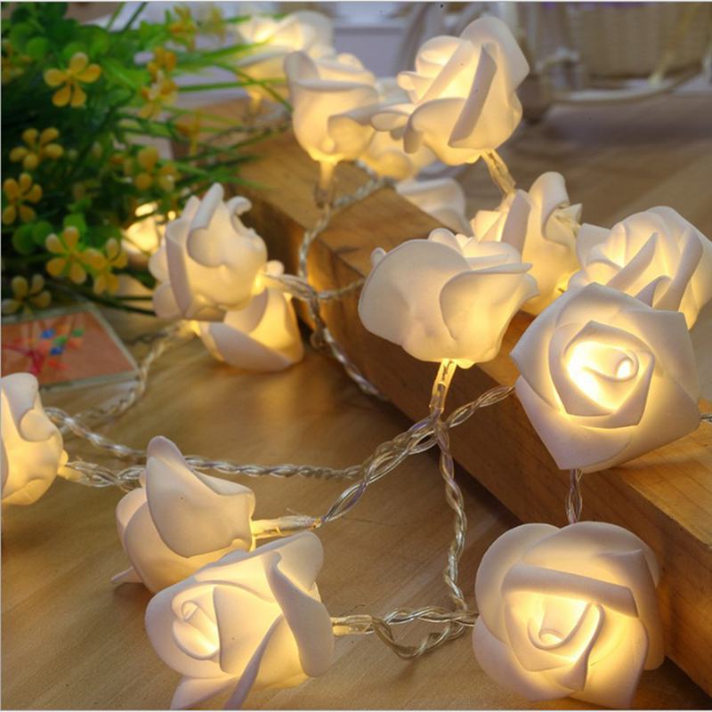 SVELTA 5M 20LED AC Rose Flower String Fairy Lights For Valentine Christmas Wedding Birthday Party Decoration Guirlande Lumineuse