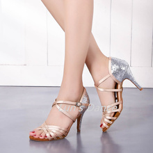 New Nude Satin With Silver Glitter Perfect Weddidng Salsa Tango Ballroom Dance Shoes Latin Dancing DS431