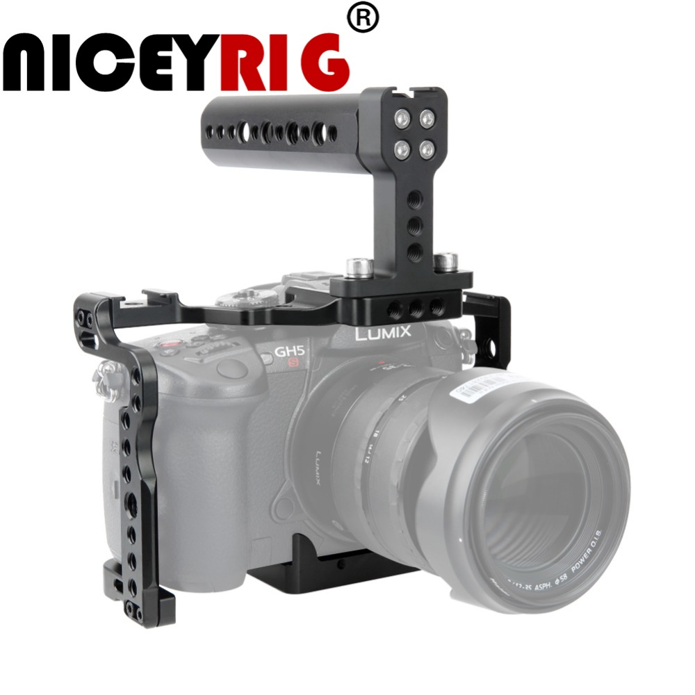 NICEYRIG for Panasonic Lumix GH5 GH5s Photography Camera Cage Kit with NATO Cheese Top Handle NATO