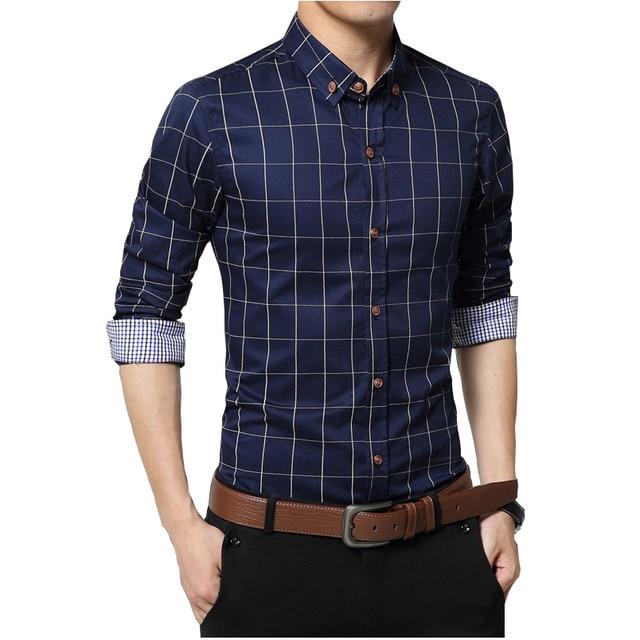 Navy blue plaid shirt mens south park t shirts for Mens casual plaid shirts