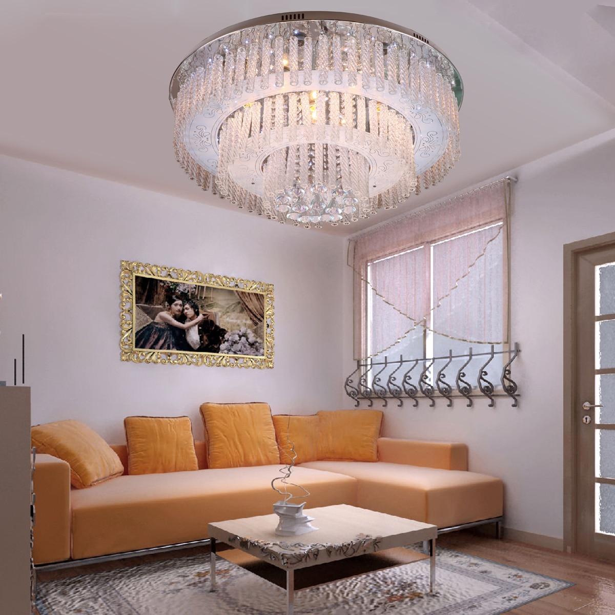 Modern Brief Cake Type Crystal Ceiling Light Living Room