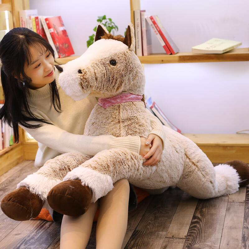90 120cm Crouching Horse Big Size Horse Plush Toy Soft Animial Stuffed Doll Gift For Children