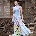 Фиолетовый ао дай Вьетнам Китайское традиционное платье китайский платье qipao долго Китайский cheongsam платье халат chinoise современный cheongsam