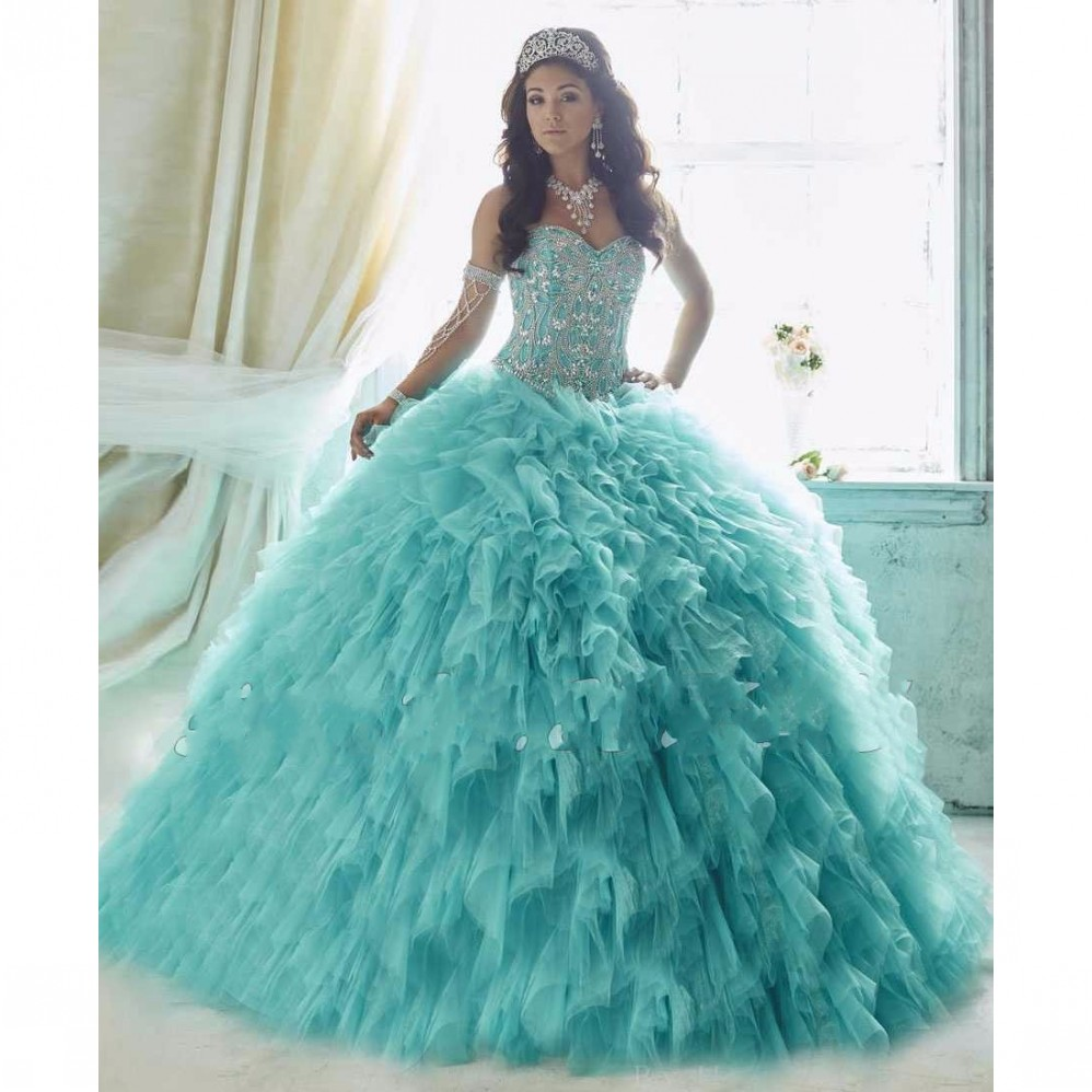 6275e8280 Cheap Aqua Quinceanera Dresses 2017 Ball Gown Ruffles With Tulle